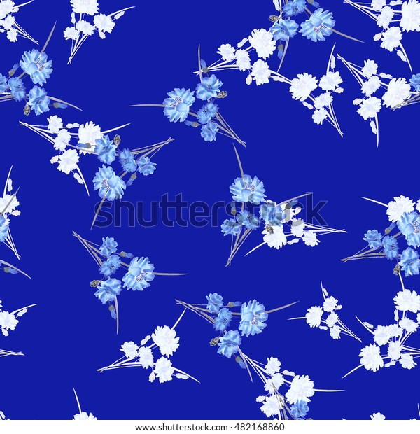 Seamless pattern of wild small white and blue flowers and bouquets on a dark blue background. Watercolor.