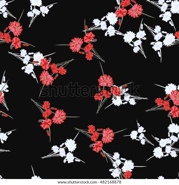 Seamless pattern of wild small white and red flowers and bouquets on the black  background. Watercolor.