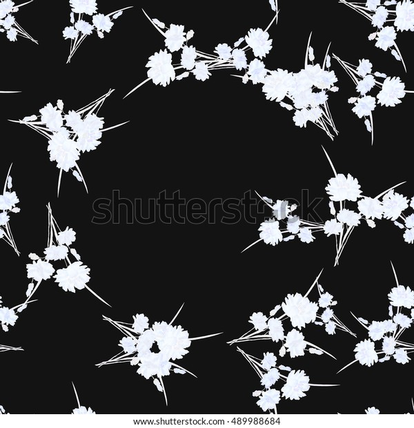 Seamless pattern of wild small white flowers with floral white wreath on a black background. Watercolor