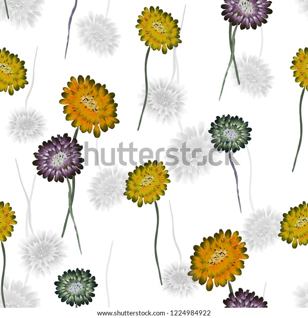 Seamless pattern of wild small yellow, violet and green flowers on a white background. Watercolor