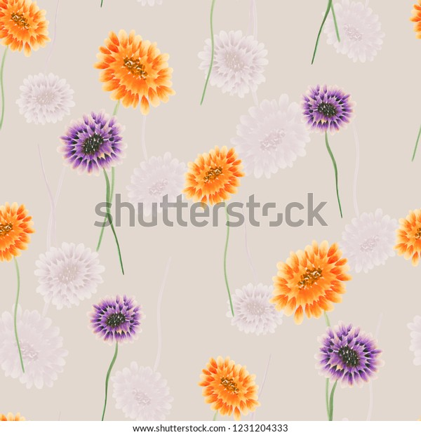 Seamless pattern of wild small yellow and violet flowers on a light beige background. Watercolor