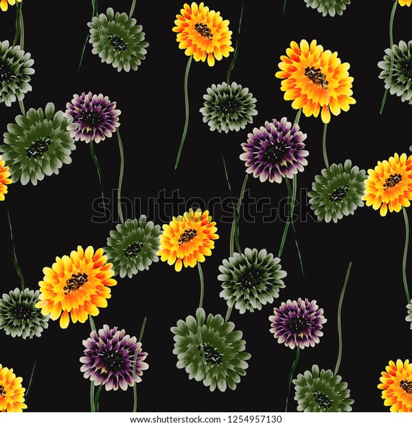 Seamless pattern of wild small yellow and green flowers on the black background. Watercolor