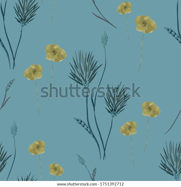 Seamless pattern of wild small yellow and beige summer  flowers on a deep blue background. Watercolor