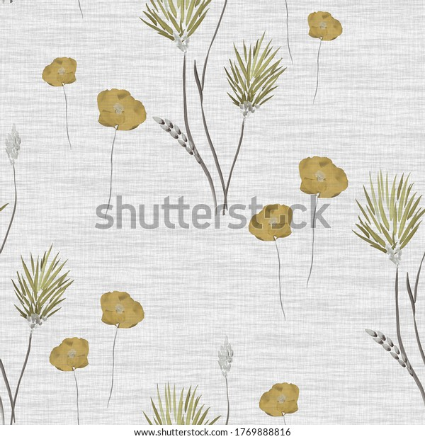 Seamless pattern of wild small yellow  flowers on a light beige linen background. Watercolor