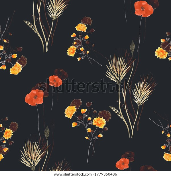Seamless pattern of wild small yellow flowers and red poppies on the black background. Watercolor