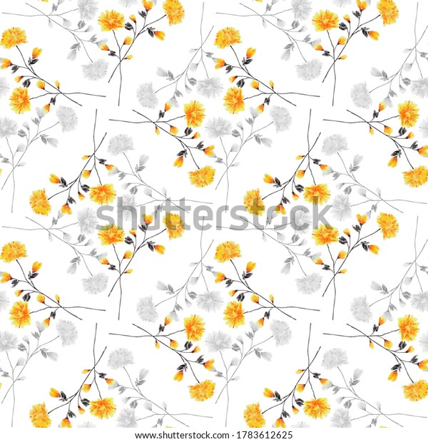 Seamless pattern wild small yellow and gray flowers on a white background. Ornament. Watercolor