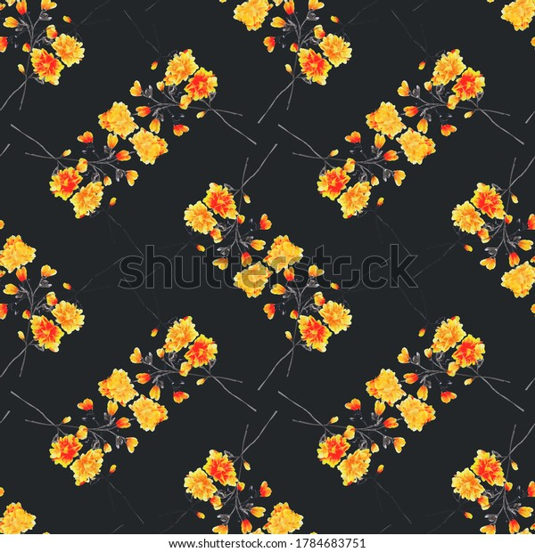 Seamless pattern wild small yellow and orange flowers on the black background. Ornament. Watercolor