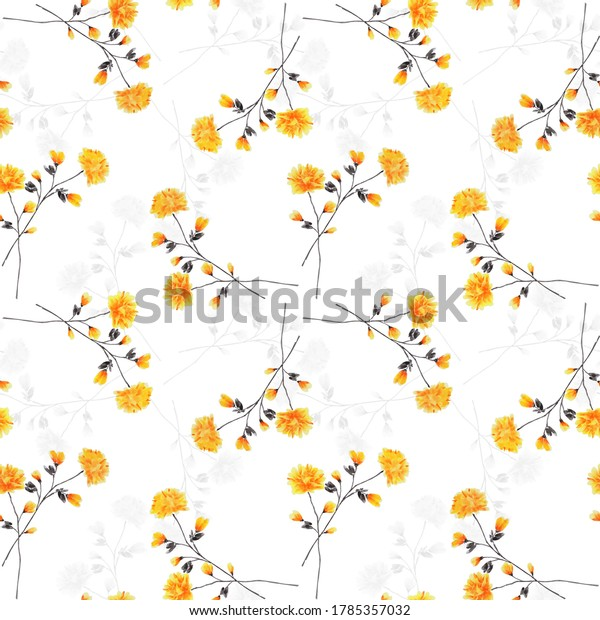 Seamless pattern wild small yellow flowers and gray branchs on a white background. Watercolor