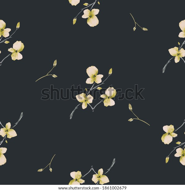 Seamless pattern wild small yellow and green flowers on the black background. Watercolor