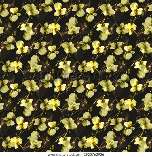 Seamless pattern of wild small yellow flowers on a black background. Watercolor. Floral background