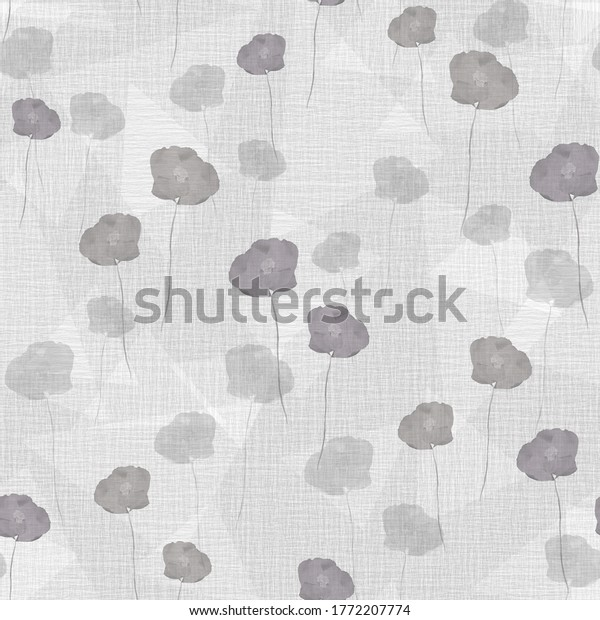 Seamless pattern wild spring gray flowers on a light gray background with geometric figures. Watercolor