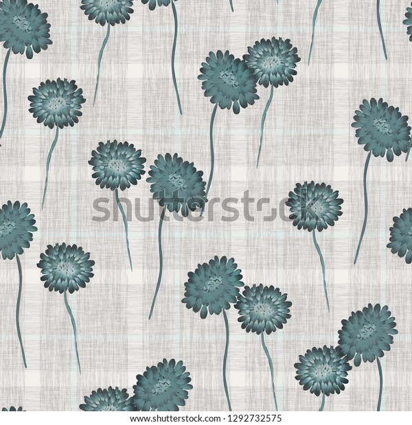 Seamless pattern of wild turquoise flowers on a gray cell background. Watercolor