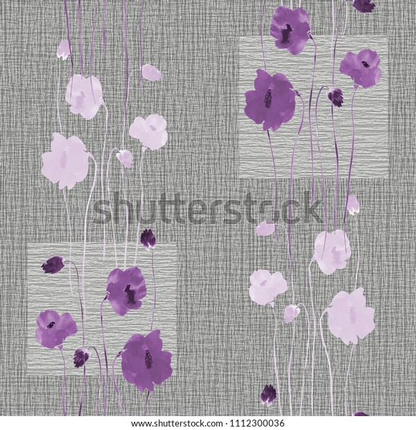 Seamless pattern of wild violet flowers on a gray background with squares. Watercolor