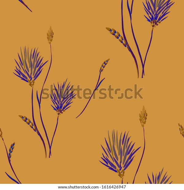 Seamless pattern of wild violet flowers on a dark orange background. Watrecolor