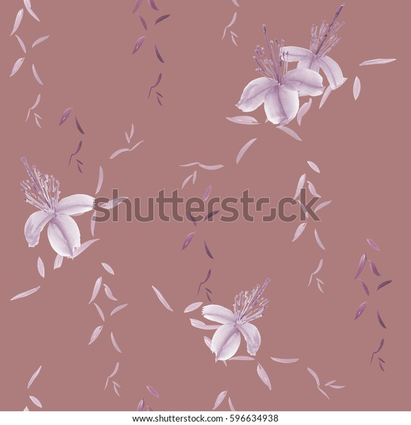 Seamless pattern of wild violet flowers and branches on a deep pink  background. Watercolor