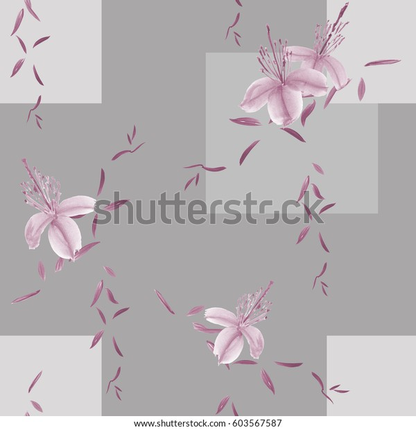 Seamless pattern of wild violet flowers and branches on a gray background with geometric figures. Watercolor