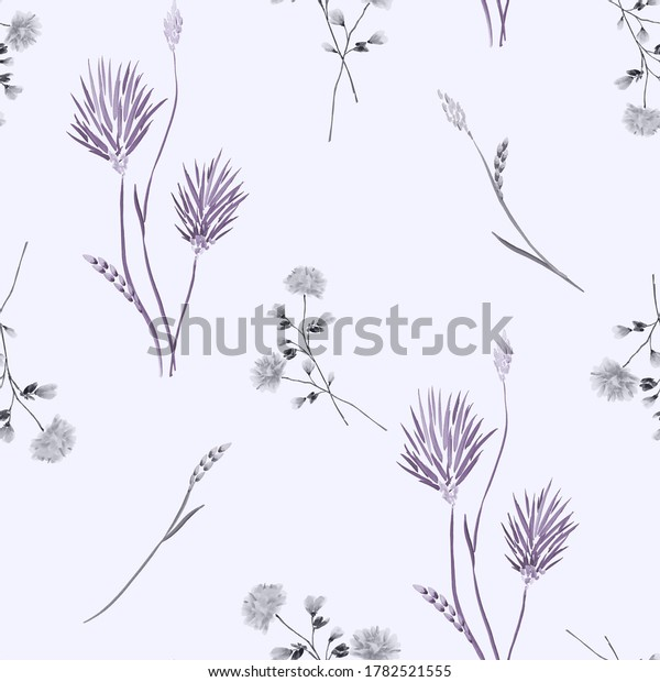 Seamless pattern of wild violet and gray flowers on a light violet background. Watercolor