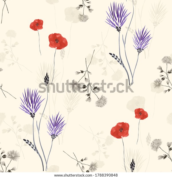 Seamless pattern of wild violet, red and gray flowers on a beige background. Watercolor