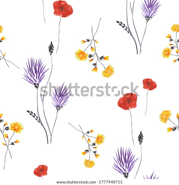 Seamless pattern of wild violet and yellow flowers and red poppies on a white background. Watercolor