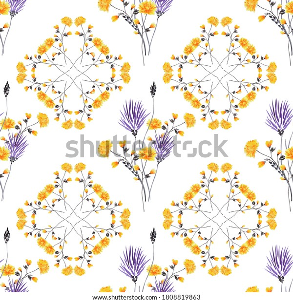 Seamless pattern wild violet and yellow flowers on a white background. Watercolor.  Ornament -6