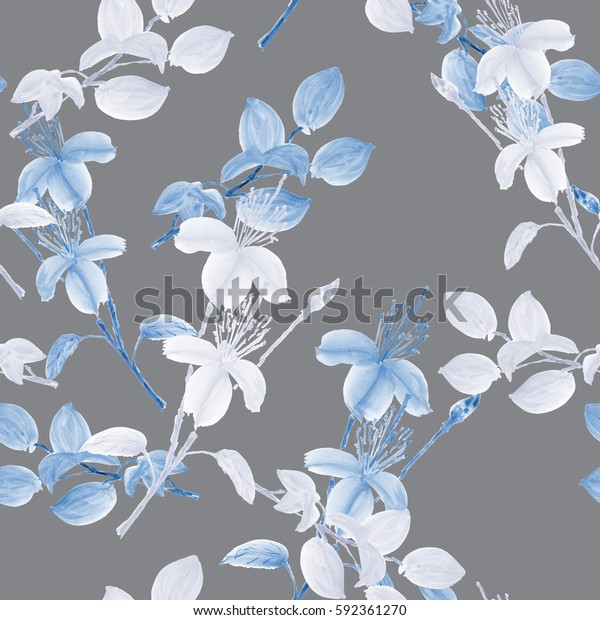 Seamless pattern of wild white and blue flowers and branches on a deep gray background. Watercolor