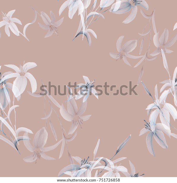 Seamless pattern of wild white and blue flowers of lily on a pink background. Watercolor