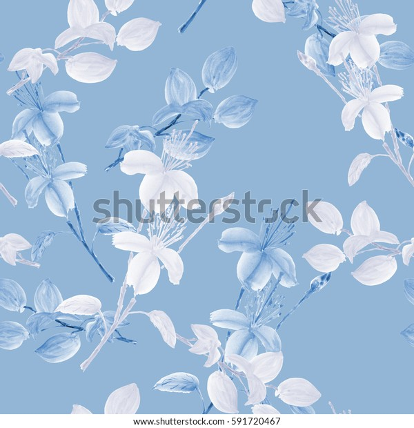 Seamless pattern of wild white flowers and blue branches on a sky blue background. Watercolor