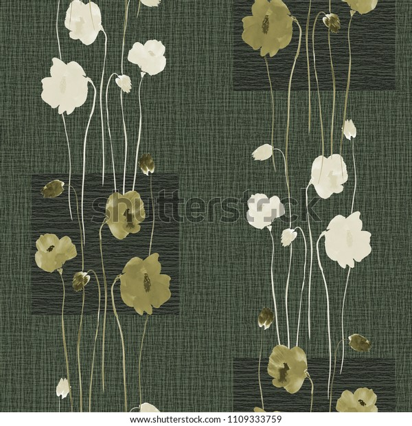 Seamless pattern of wild white and green flowers on a dark green background with squares. Watercolor