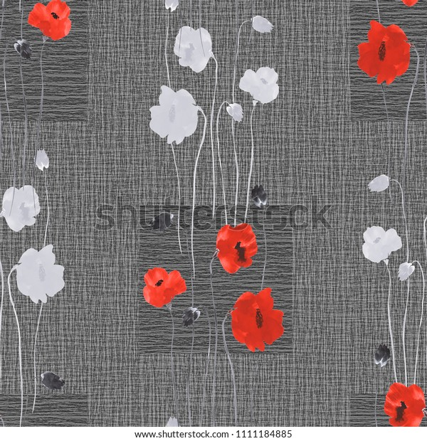 Seamless pattern of wild white and red flowers on a dark gray background with squares. Watercolor
