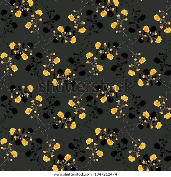 Seamless pattern of wild yellow and dark flowers on the black background. Watercolor
