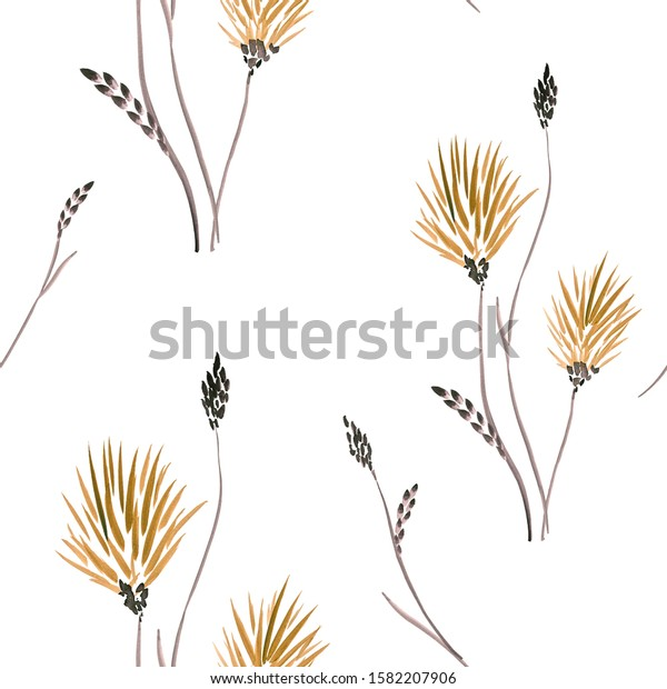 Seamless pattern of wild yellow  flowers on a white background. Watercolor