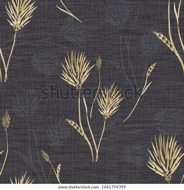 Seamless pattern of wild yellow flowers on a linen black background. Watercolor