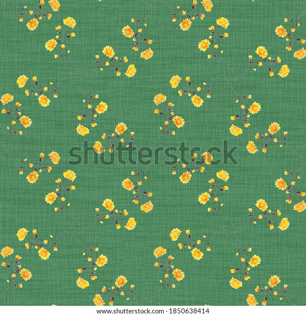 Seamless pattern of wild yellow flowers on a linen deep green background. Watercolor