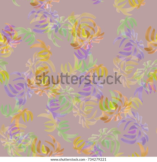 Seamless pattern of wild yellow, green, violet flowers on a deep pink background. Floral background. Watercolor
