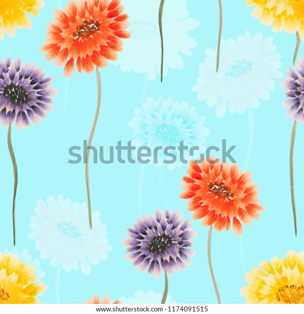 Seamless pattern of wild yellow, red, violet flowers on a light blue background. Watercolor