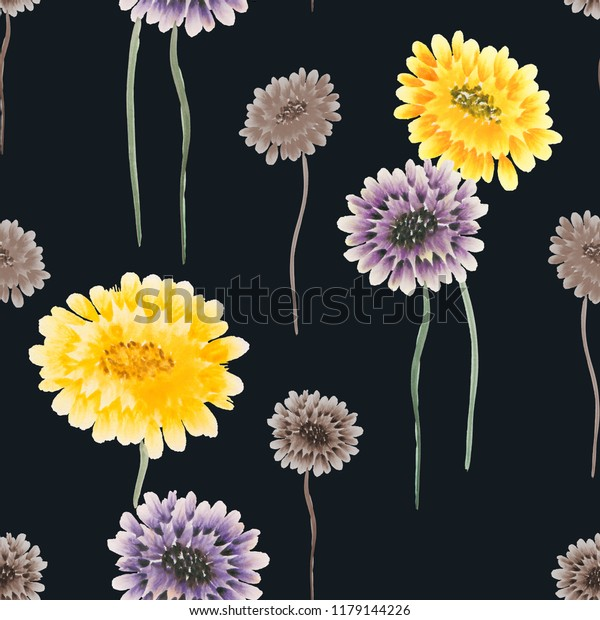 Seamless pattern of wild yellow, violet, beige flowers on the black background. Watercolor