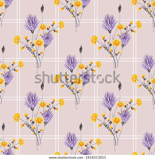 Seamless pattern of wild yellow and violet flowers in a white cell on a light pink background. Watercolor