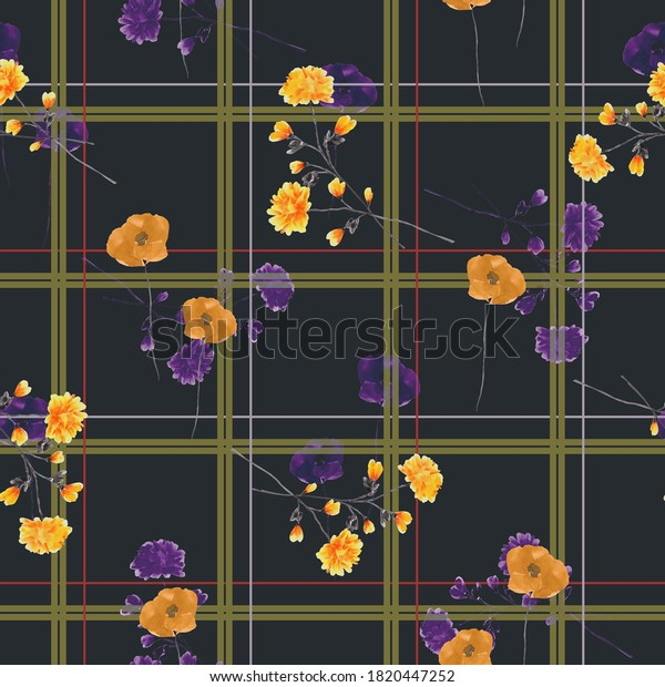 Seamless pattern of wild yellow and violet flowers in a green and red cell on  the bleck background. Watercolor