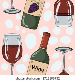 Seamless pattern with wine glass and bottle on light pink background. Sketch food drawing.  Organic  product. Great for menu, label, packaging, recipe. Good for printing.
