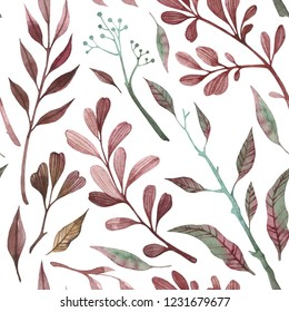 Seamless pattern with wine wild herbs, flower and branches. Perfect for printing , wallpaper, paper, postcard, tile, calico. Watercolor Botanical illustration.