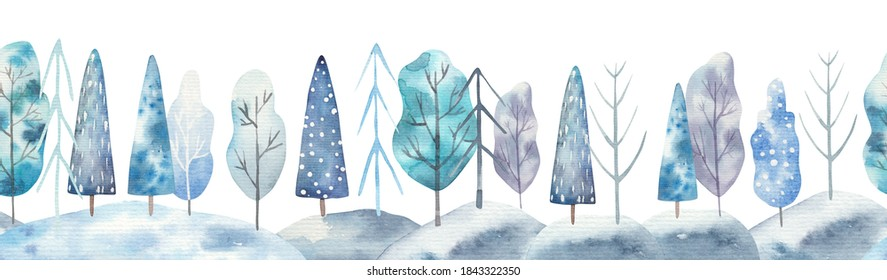 seamless pattern winter landscape, trees, childrens watercolor illustration on white background, nursery room decor, print