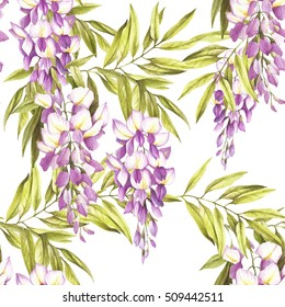 Seamless pattern with wisteria. Hand draw watercolor illustration.
