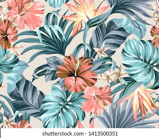 seamless pattern withTropical flowers, jungle leaves, strelitzia, flower, strelitzia. Exotic floral elements isolated artwork for tattoo, fabrics, souvenirs, packaging, greeting cards and scrapbooking