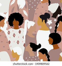 Seamless pattern with women of different nationalities in pastel colors. For printing on fabrics, paper, posters.
