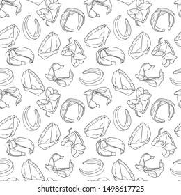 Seamless pattern with women's headbands, head wrap hair accessories