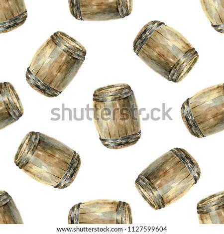 Seamless Pattern Wooden Wine Barrels Watercolor Stock Illustration