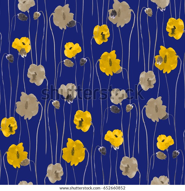 Seamless pattern of yellow and beige flowers on a deep blue background. Watercolor