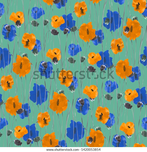 Seamless pattern of yellow and blue flowers on a deep turquoise background. Watercolor