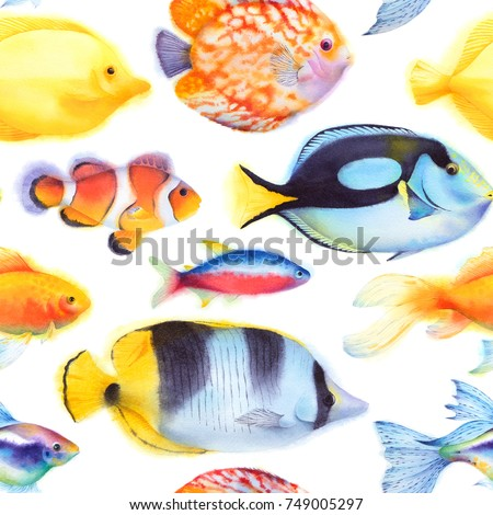 79026a348e65 Royalty Free Stock Illustration of Seamless Pattern Yellow Blue Tang ...