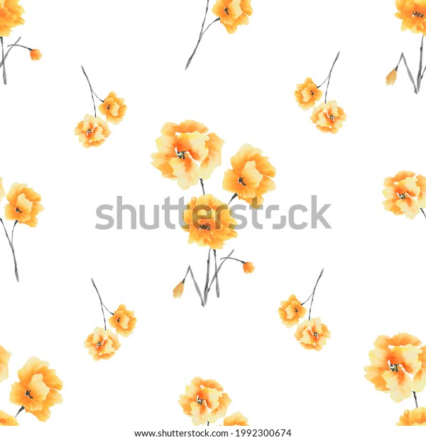 Seamless pattern of yellow flowers and bouquets on a white background. Watercolor